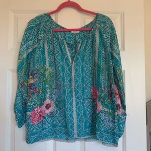 Johnny Was 100% Silk Blouse Tropical Flowers XS